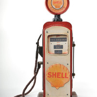 Miniature Shell Gas Pump Vintage Decoration Antique Trinket Box