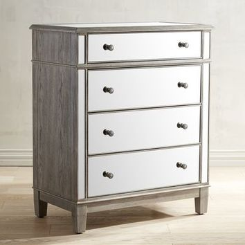 Hayworth Mirrored Weathered Oak 4-Drawer Chest