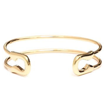 Safety Pin Bangle Arm Bracelet Gold Tone Vintage Punk BC37 Statement Fashion Jewelry