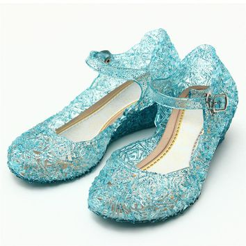 Crystal Girl's Sandals Princess Cosplay Children's Shoes Mary Jane Shoes For Stage Dancing Show Kids High Quality Shoes