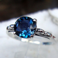 London Blue Topaz 2 ct ring in sterling silver - custom size Fair Trade, earth friendly - Spirituality - December birthstone -Engagement