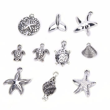 40Pcs Bulk Tibetan Style Alloy Pendants Conch shells Sea Star anchor Mix Pendants Charms DIY Jewelry SM6