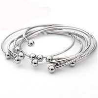 5pc Silver Color Adjustable Cuff Open Bangles