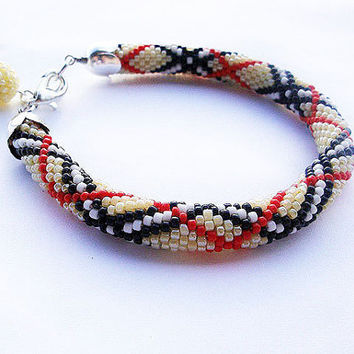 Bead crochet rope bracelet with striped pattern, seed beads jewelry, beaded jewelry, plus size fashion ,geometric jewelry