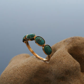 Turquoise Ring 14k Yellow Gold Over Brass 4 Four Gemstone Band Oval Stone