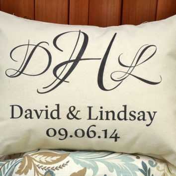 Monogram pillow, couples monogram, personalized pillow, wedding gift, 2nd anniversary, cotton anniversary, engagement - david & lindsay-