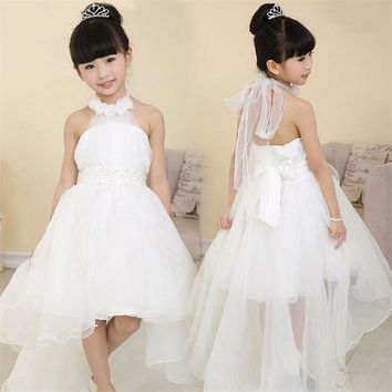 High quality Lace Girl Wedding Dresses For Kid Children Summer Party Summer Princess Floor Length Wedding Dress Big Bow 12 Years