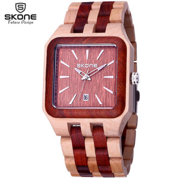 SKONE Male Date Natural Wooden Watches Men Antique Wood Watch Luxury Casual Quartz Wristwatch Shock Resistant relogio masculino