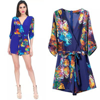 Women's Fashion Floral Print V-neck Long Sleeve Jumpsuit [4919625284]