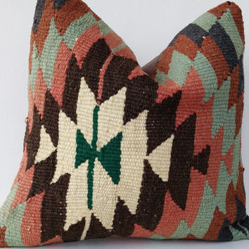 Kilim Pillow Throw Pillow Kilim Pillow Bohemian Home Decor Handwoven Turkish Kilim Pillow Accent Pillow 16 ' inch Rustic Home Decor