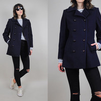 PEACOAT vtg 80's navy blue SAILOR WOOL pocket coat preppy timeless Classic