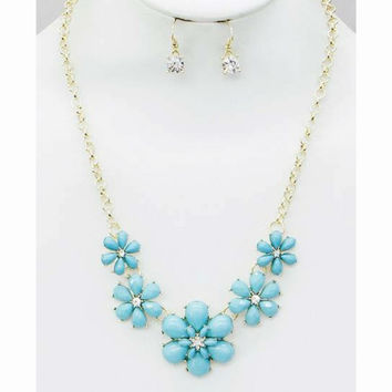 Teal Flower Statement Necklace