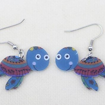 1 pair turtle cute lovely printing drop earrings acrylic new design spring/summer style for girls woman jewelry