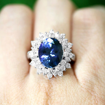 Tanzanite and Diamond Ring, 14k Solid White Gold (Free Shipping)