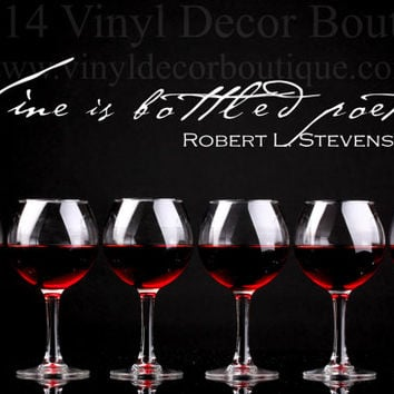 Wine Poetry Wall art wall decal wall quote vinyl lettering vinyl wall quote