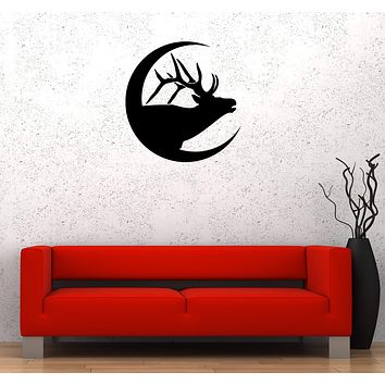 Wall Decal Deer Animal Horns Silhouettes Moon Vinyl Sticker (ed1272)