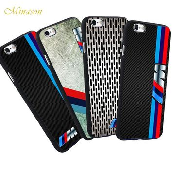 Minason Luxury Mobile Phone Case For iPhone X 8 5 SE S 5S 7 6 6S Plus BMW Case M3 M5 Series Logo Black Silicone Soft Case Cover