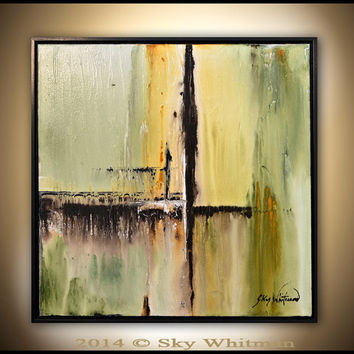 Framed Square Painting Original Abstract Art  Modern Textured Oil Painting Sage and Olive Green High Gloss Contemporary art by Sky Whitman