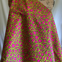 African Wax Print Fabric by the HALF  YARD. Yellow and Black Ropes on a Bright Pink Field--Made in Mali