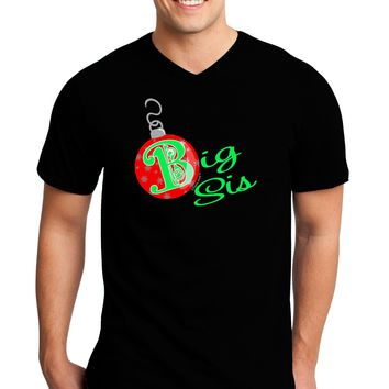 Matching Family Ornament Big Sis Adult Dark V-Neck T-Shirt