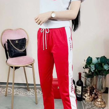 """Gucci"" Woman's Leisure  Fashion Letter Printing  Spell Color Short Sleeve Trousers Two-Piece Set Casual Wear"