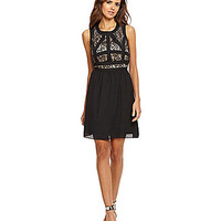 Gianni Bini Averia Lace-Bodice A-Line Dress - Black