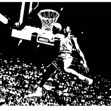 Michael Jordan Chicago Bulls Basketball Dunk Dorm Decor Silhouette WALL ART STICKER VINYL DECAL ROOM STENCIL MURAL HOME OFFICE