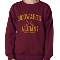 Hogwarts Alumni Dark Yellow print on Crew neck Sweatshirt