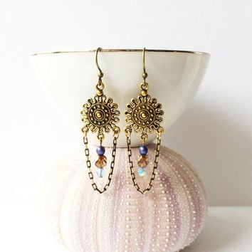 Tortuga Days Chandelier Earrings, Intricate Antique Gold Tone Sunburst, Chain Accent with Blue and Bronze Beads, Fun Fashion Earrings