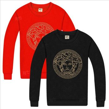 Versace British big cotton crewneck sweater Red