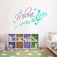Music Notes Wall Decal Name Girl Personalized Name Vinyl Stickers Art Mural Home Boho Bedroom Interior Design Kids Nursery Decor KI136