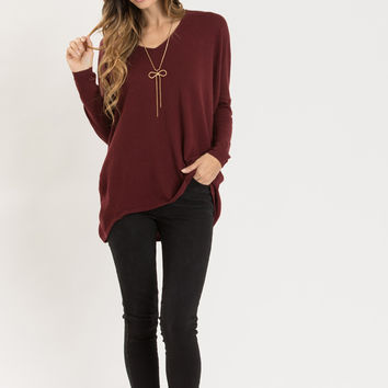 Delaney Burgundy Knit V-Neck Sweater