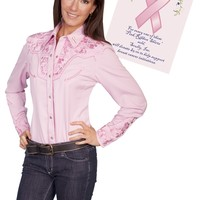 "Scully® Womens Pink Floral Embroidered ""Breast Caner"" Long Sleeve Snap Western Show Shirt"