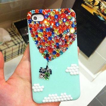 Handmade Bling sparkle diamond crystal pearl Rhinestone iPhone 5s  5 4s case cover Hot Air Balloon Mint-170928