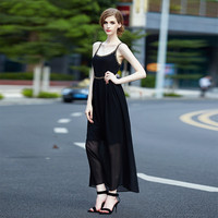 Black Spaghetti Strap Chiffon Dress
