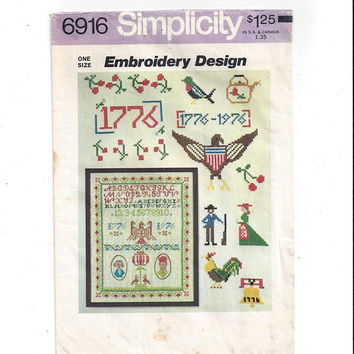 Simplicity 6916 Wax Transfer Pattern for Hand Embroidery, 1976 Bicentennial Theme, Eagle, Sampler, 1975, Vintage Pattern, Home Embroidery