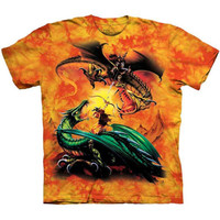 THE DUEL Dragon Battle The Mountain Angry Fighting Fantasy Art T-Shirt S-3XL NEW