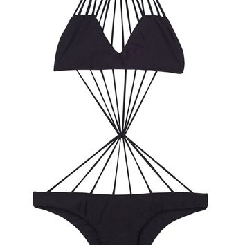 Seychelles Stringy Center Knot One Piece Swimsuit - Night Black