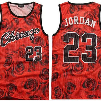 2017 men's summer tank tops 3D print rose floral 23 vest fit slim jersey sleeveless tee shirts boys clothes