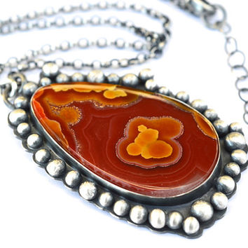 Agua Nueva Agate Statement Necklace in Sterling Silver, One of a Kind Statement Necklace, Hand Fabricated