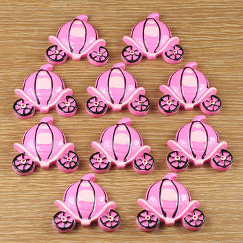 10pcs Princess Carriage Resin Cabochons Flatbacks Flat Back Scrapbooking Girl Hair Bow Frame Card Making Crafts Embellishments DIY