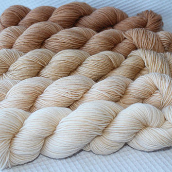 Gradient Yarn Set- Hand dyed Superwash  sock yarn  in Baked Milk