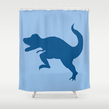 T-Rex Shower Curtain - Dinosaur, Tyrannosaurus Rex silhouette,  cretaceous, jurassic colorful decor bathroom, zoo