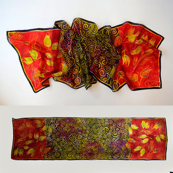 Evening Breeze scarf, red & yellow unique handmade scarves, handpainted silk scarf, long scarf, red silk, red scarf, floral silk scarf