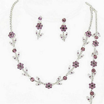 Elegant Lite Purple 3 Piece Crystal Bridesmaid Bridal Necklace Earring Bracelet Set Wedding Bling L5