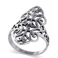 Sterling Silver 28mm Design Floral Filigree Flower Polished Finish 4mm Wide Band Ring Size 5, 6, 7, 8, 9, 10: Jewelry: Amazon.com