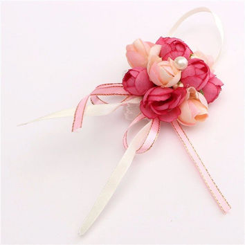 Bride Rose Buds Wrist Corsage Prom Artificial Flower Bracelet Wedding Party Decoration