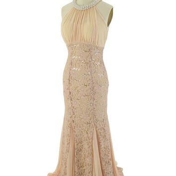 Champagne Sequined Lace Chiffon Cutaway Shoulder Gown