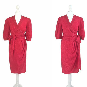 Festive Red Satin Dress - 80's Vintage Dress - Herbe Folle Paris - Silky Wrap Over Dress