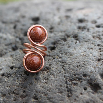 Glass Copper Ear Cuff, Goldstone, Tribal BOHO Earthy Hypoallergenic Unisex Gift, Copper Jewelry, Glitter, Nature Inspired Jewelry